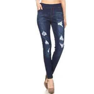 Pull On Distressed Jeggings